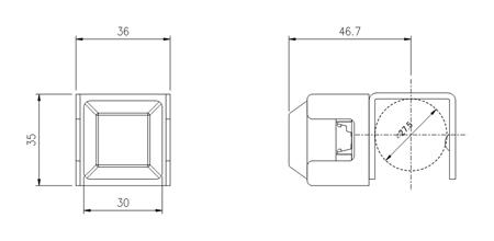 超小型ガード付き F01052 寸法図スマホ用