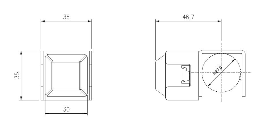 超小型ガード付き F01052 寸法図